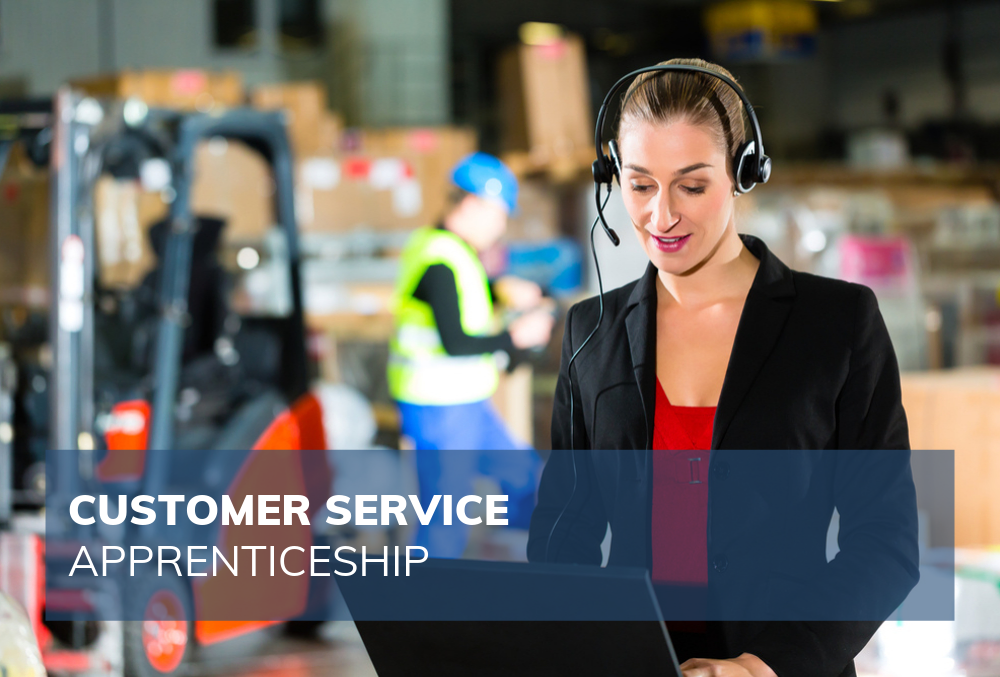 female customer service employee in warehouse setting