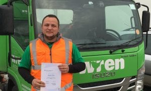 Star driver gains his LGV licence with distinction